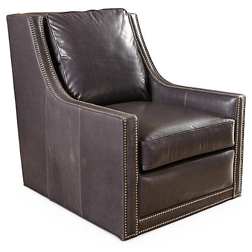Monte Swivel Chair, Iron-Gray Leather