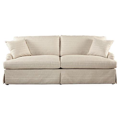 """Leora 92"""" Roll-Arm Sofa, Cream"""