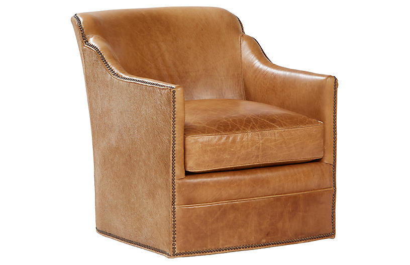 Hughes Swivel Chair, Camel Leather