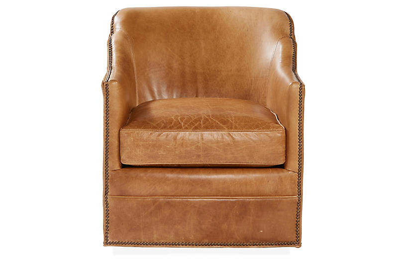 Hughes Swivel Chair Camel Leather