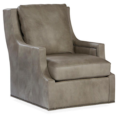 Delevan Swivel Chair, Stone Leather. Massoud Furniture
