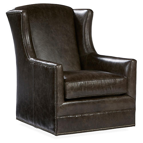 Folsom Swivel Chair, Coal Leather