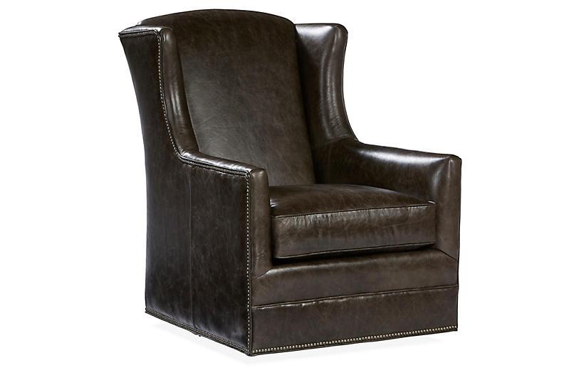 Folsom Swivel Chair, Coal Leather