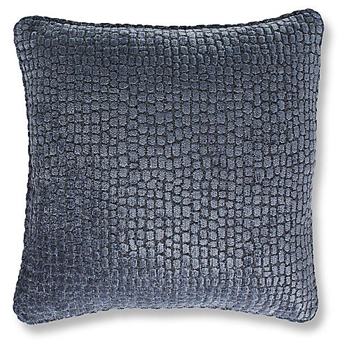 Camden 19x19 Pillow, Steel Blue Chenille