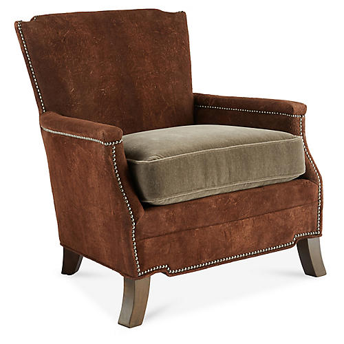 Gerry Club Chair, Chocolate/Mink Suede