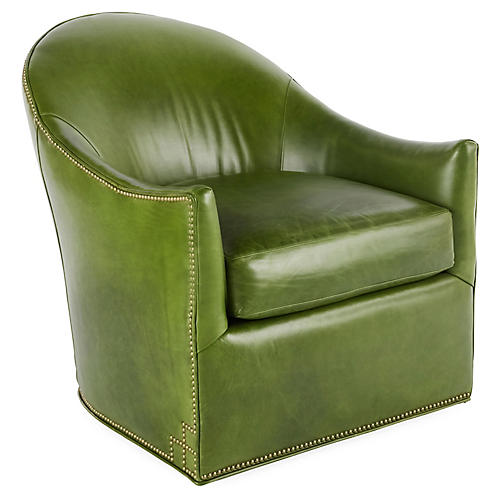 Meadow Swivel Chair, Evergreen Leather
