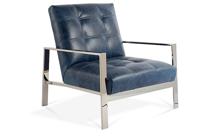 Theo Accent Chair, Ocean Leather