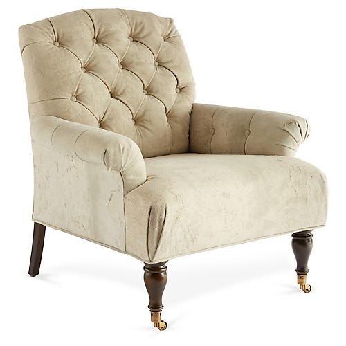 Harrison Accent Chair, Oyster Suede