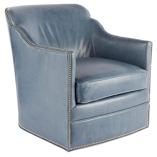 Hughes Swivel Chair, Light Blue Leather