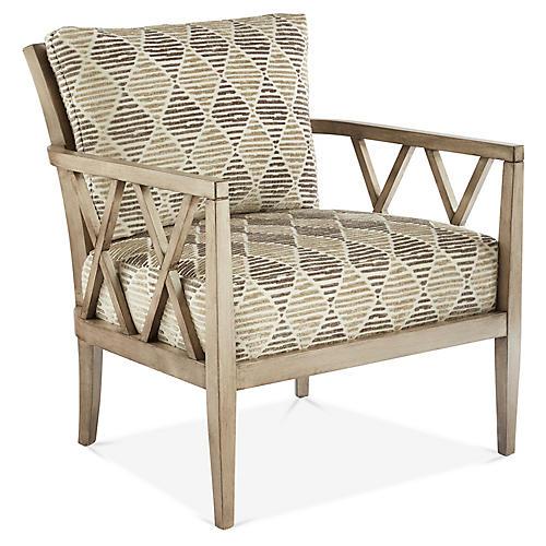 Avery Accent Chair, Mink/Cream Diamonds
