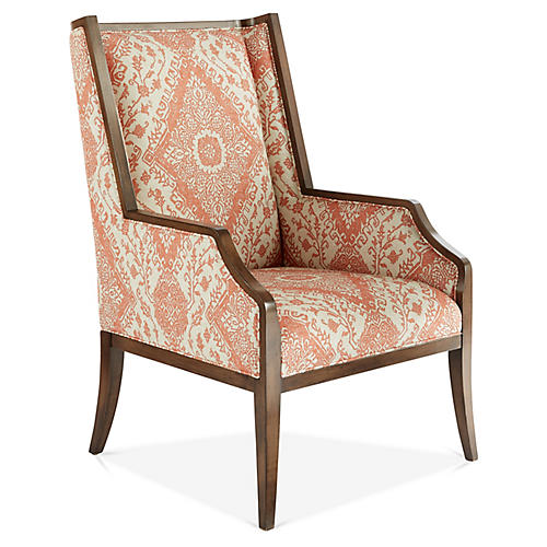 Reid Wingback Chair, Cream/Rust