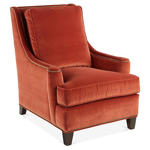 Buhl Wingback Chair, Rust Velvet