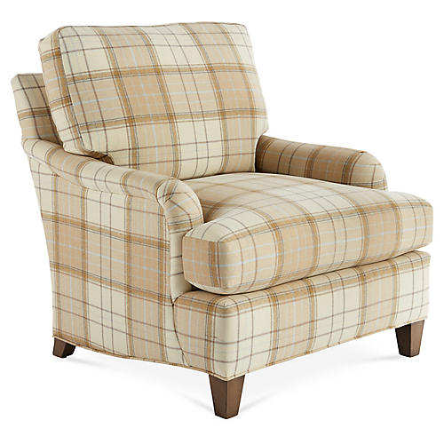 Jefferson Club Chair, Cream/Tan
