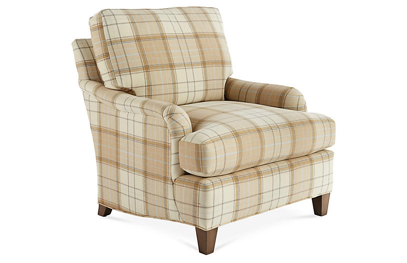 Jefferson Club Chair - Cream/Tan - Massoud Furniture