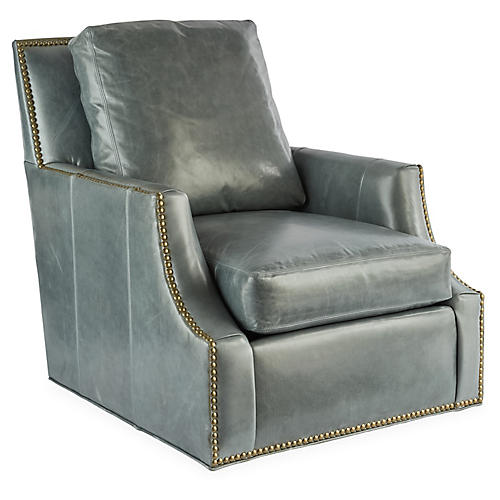Horron Swivel Chair, Gray Leather
