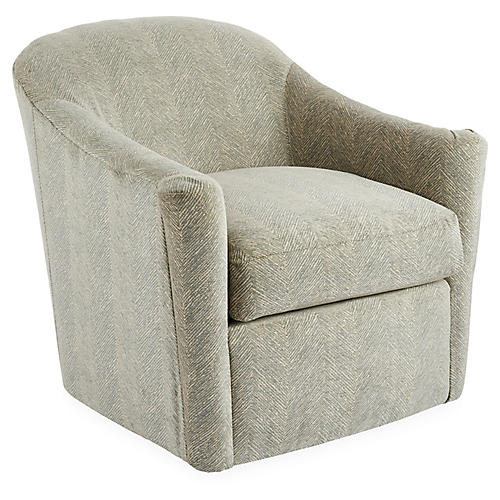 Meadow Swivel Chair, Light Blue/Cream