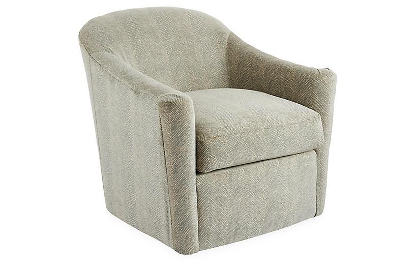 Meadow Swivel Chair, Light Blue/Cream