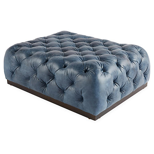 Demi Cocktail Ottoman, Ocean Leather