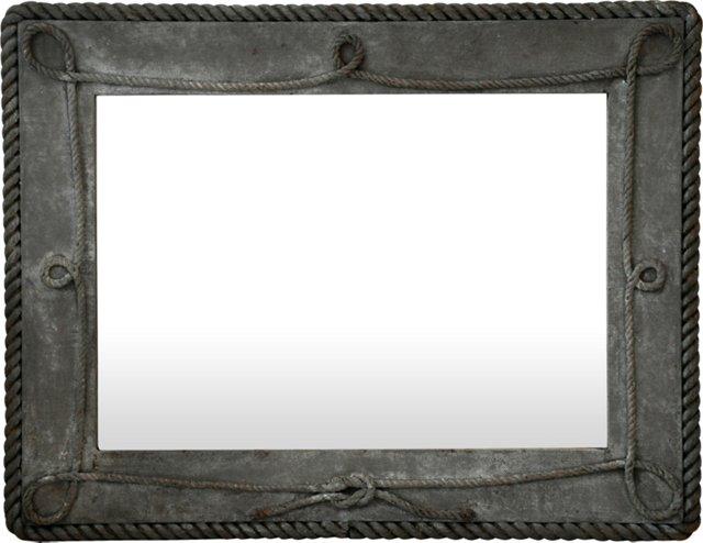 Antique Burlap & Rope Framed Mirror