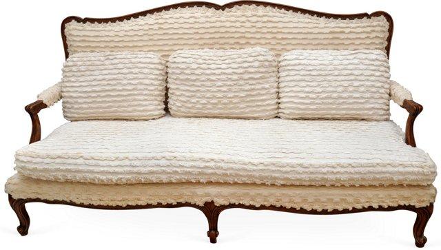French Sofa w/ Eyelash Fabric Upholstery