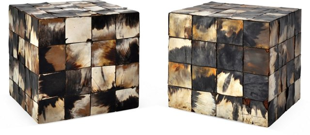 Vintage Horn-Covered Cubes, Pair