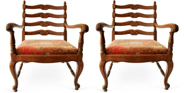 Low Wood Armchairs, Pair