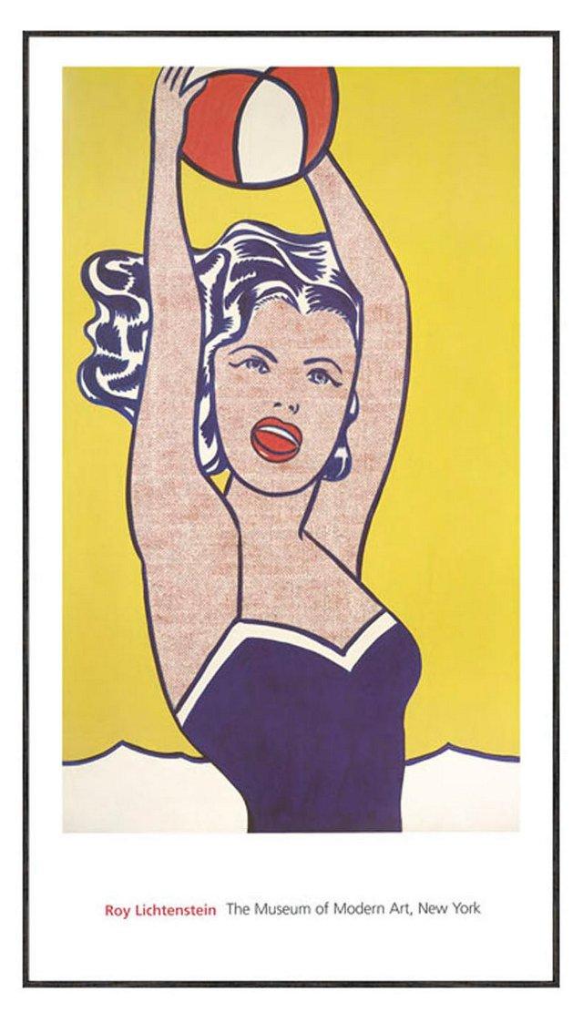 Lichtenstein, Girl with Ball, Framed