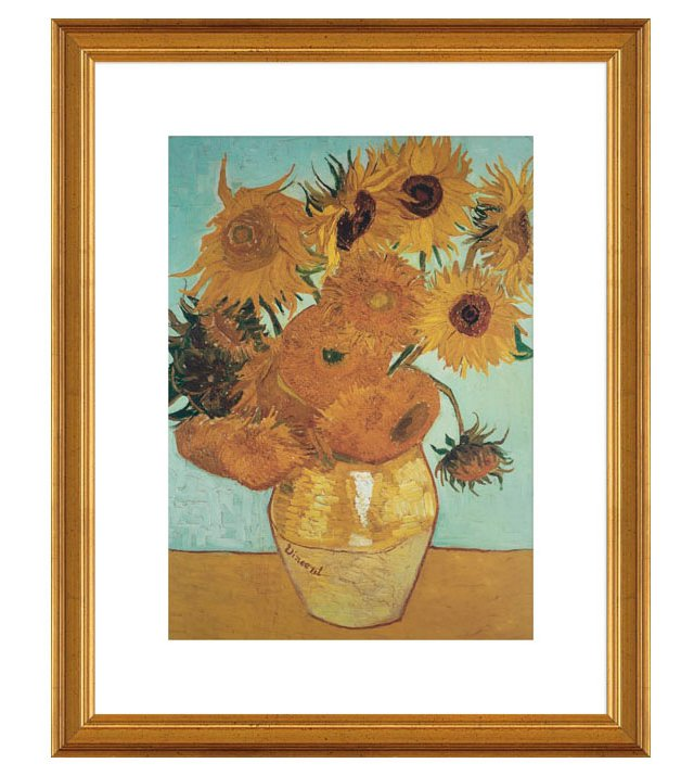 Vincent van Gogh, Sunflowers on Blue