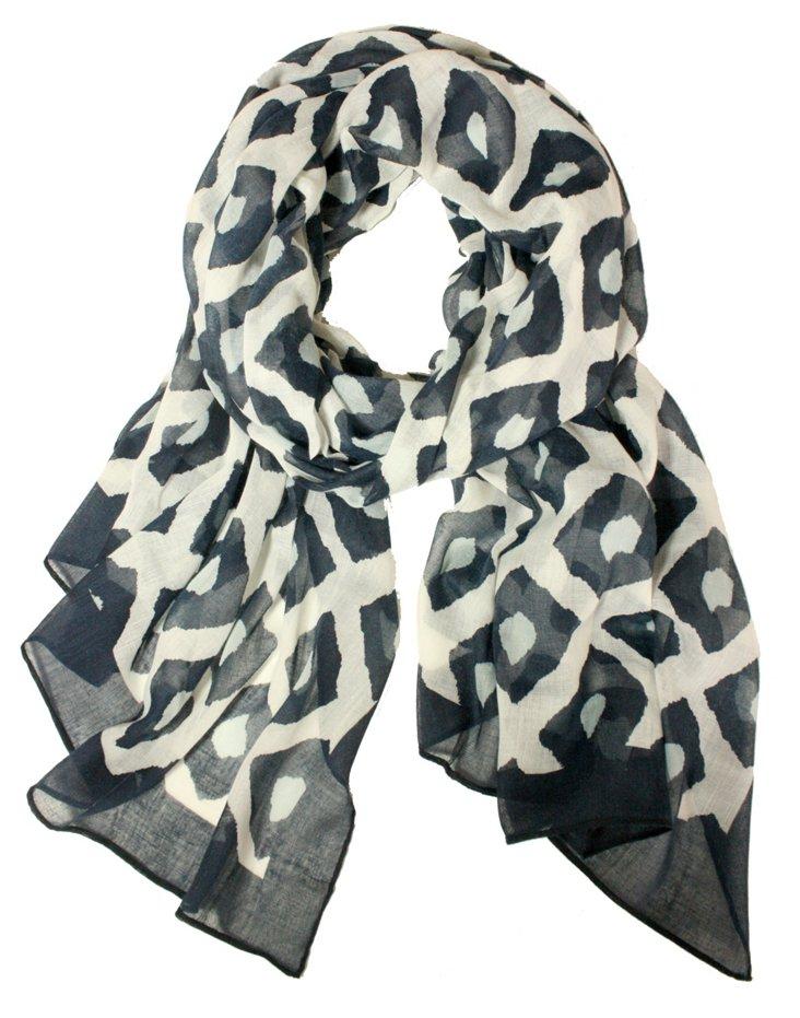 Batik Print Scarf, Navy/Cream