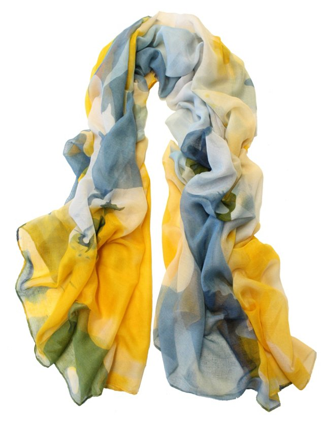 Colorful Stroke Scarf, Yellow/Blue