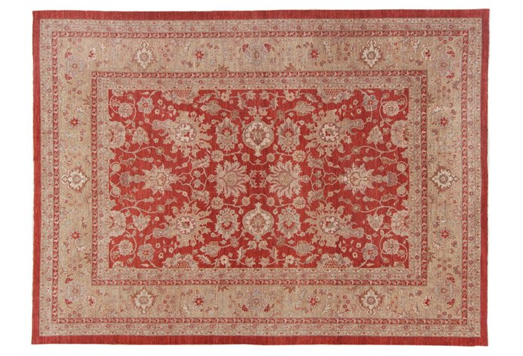 "9'x12'2"" Oushak Rug, Red"