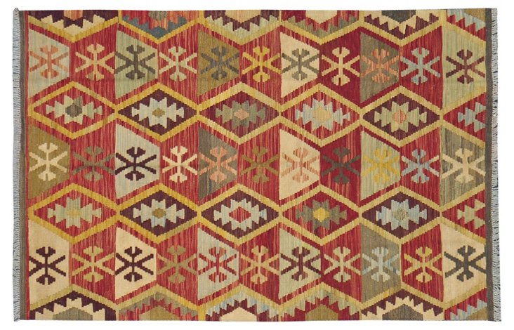 "4'1""x6'2"" Tribal Kilim, Red/Olive/Yellow"
