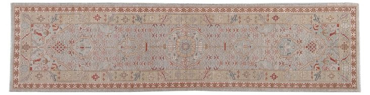 "3'2"" x 12'3"" Tribal Runner, Light Blue"