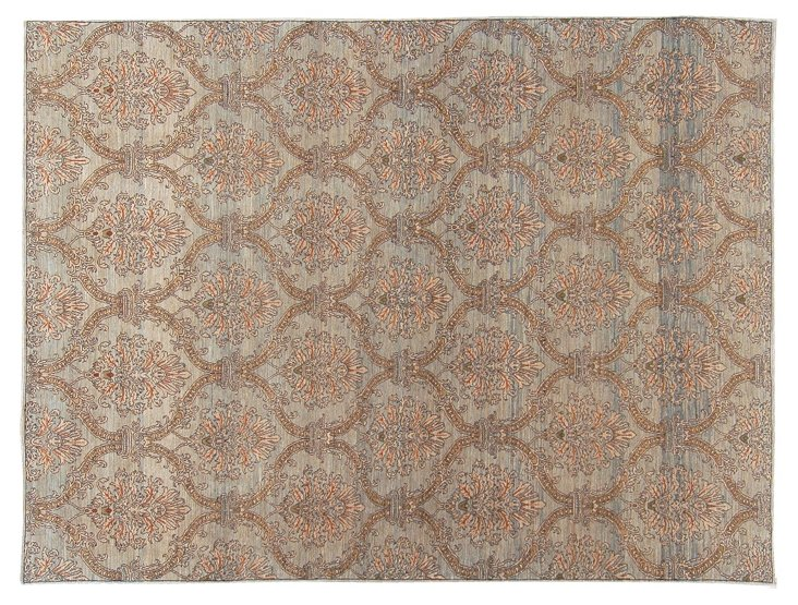 "9'1""x12'4"" Transitional Rug, Sand/Blue"