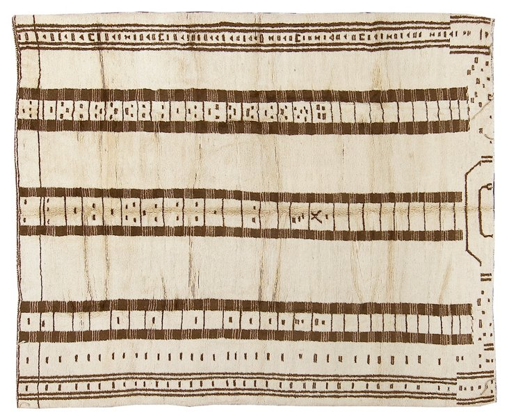 "10'2""x12'3"" Moroccan Rug, Ivory/Brown"