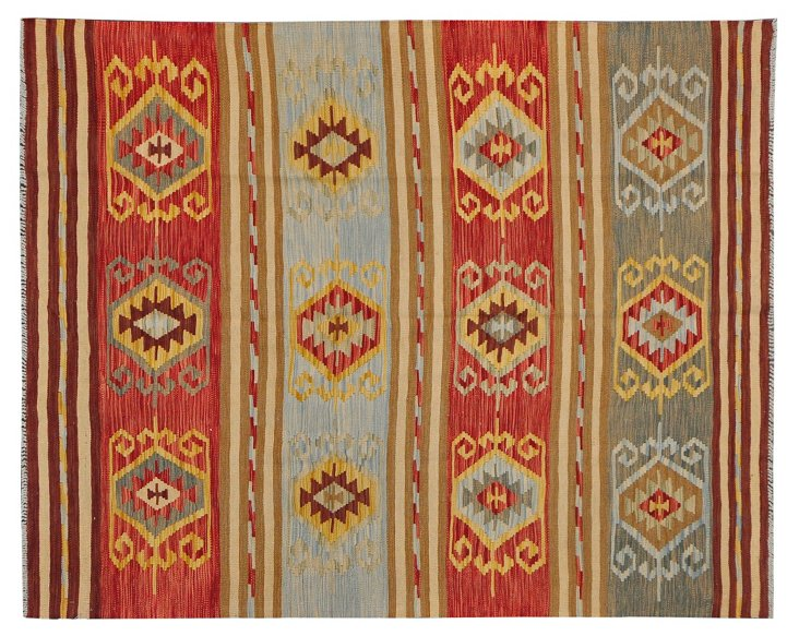 "5'8"" x 7' Tribal Kilim, Red/Olive/Yellow"