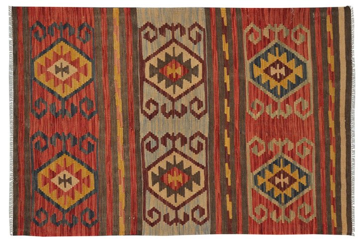 "3' x 4'10"" Tribal Kilim, Red/Blue/Yellow"