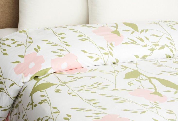 Apple Blossom Duvet Cover, Pink/Green