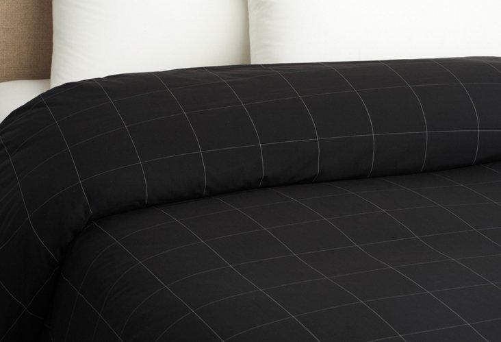 Format Check Duvet Cover, Black/Wh