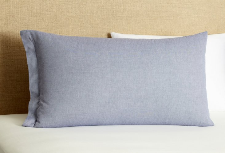 Mono Pillowcase, Blue Oxford