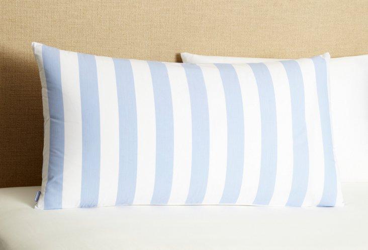 Stripe & Check King Pillowcase, Light Bl