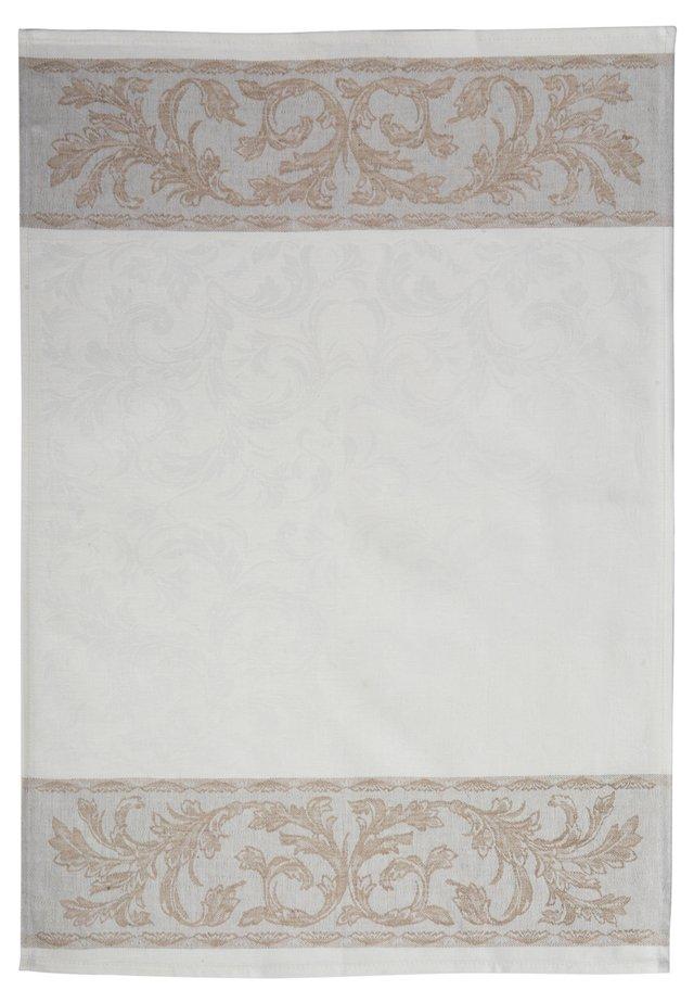 Arabesque Linen Tea Towel, White/Taupe