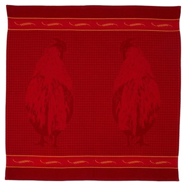 Rooster Tea Towel, Red