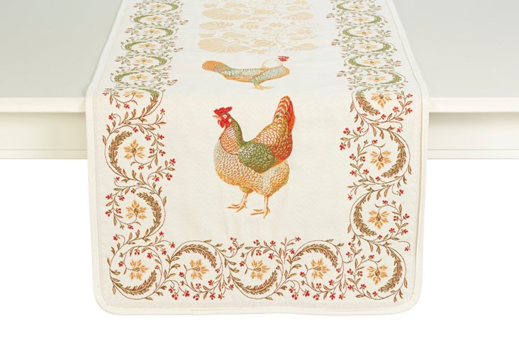 Embroidered Rooster Table Runner