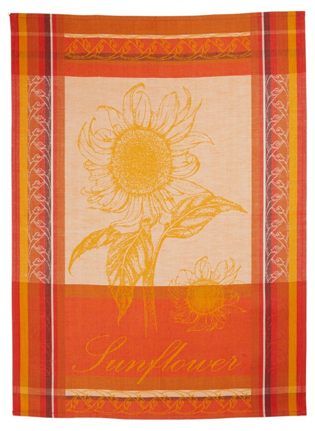 Sunflowers Linen Tea Towel, Red