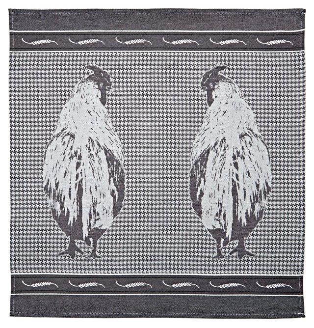 Rooster Tea Towel, Black