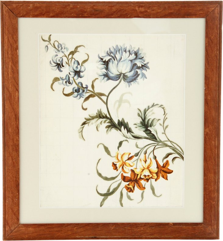 19th-C. Watercolor, Flowers
