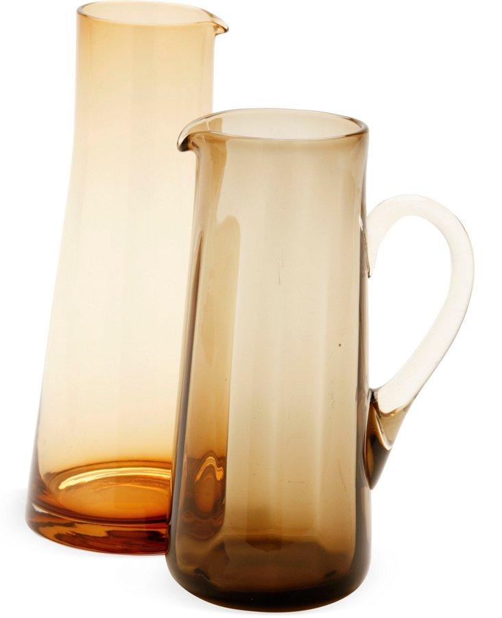 1970s Glass Jugs, Pair