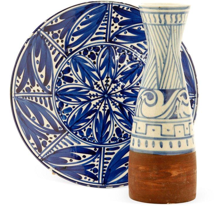 Midcentury Vase & Platter