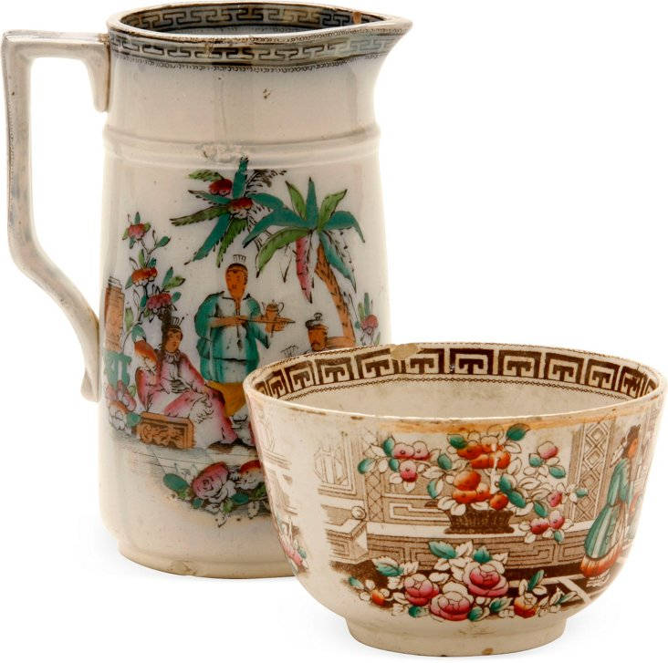 19th-C. Chinese Pitcher & Bowl